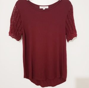 Loft | Merlot Lace Sleeved Top A30